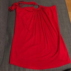 Tops - Red Tie-up Halter Top